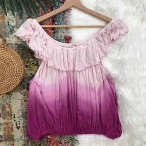 NWT Free People Ombre Off Shoulder Ruffled Top